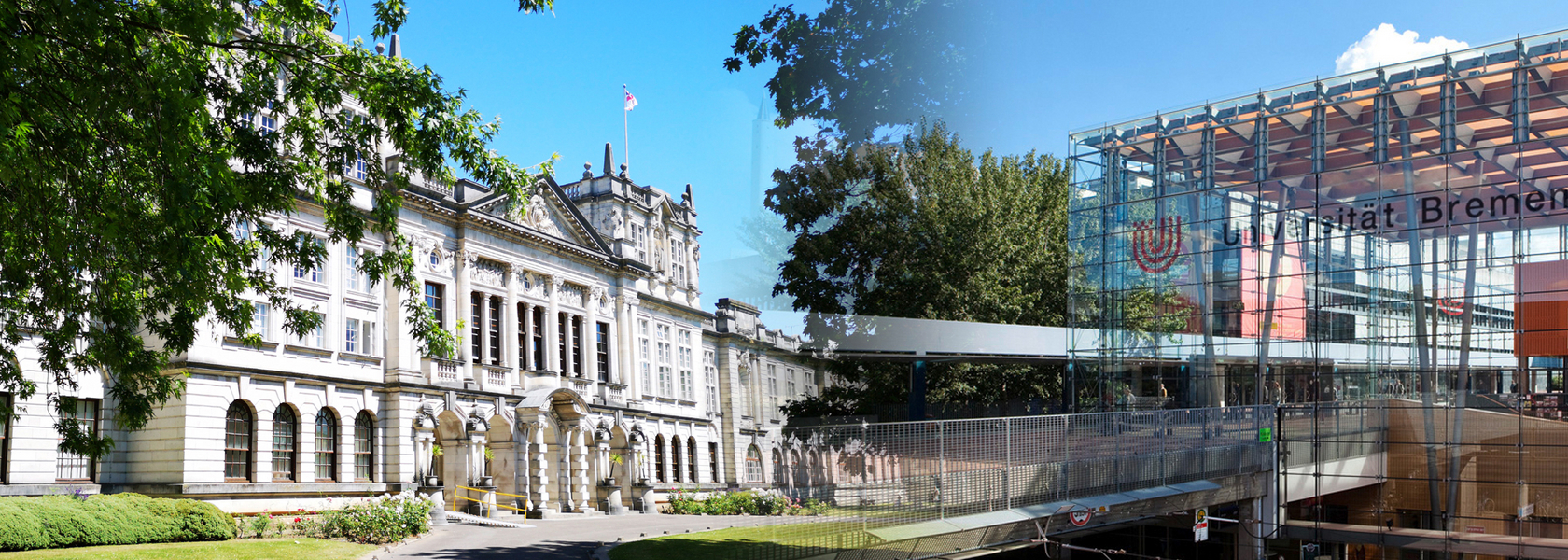 Photomontage of the two universities Cardiff and Bremen.