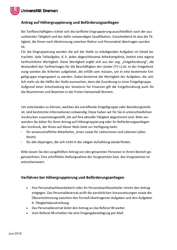 Antrag Auf Hohergruppierung Und Beforderungsanliegen Verfahren Bei Hohergruppierung Und Beforderungsanliegen