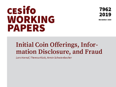Cover CESifo Working Paper No. 7962