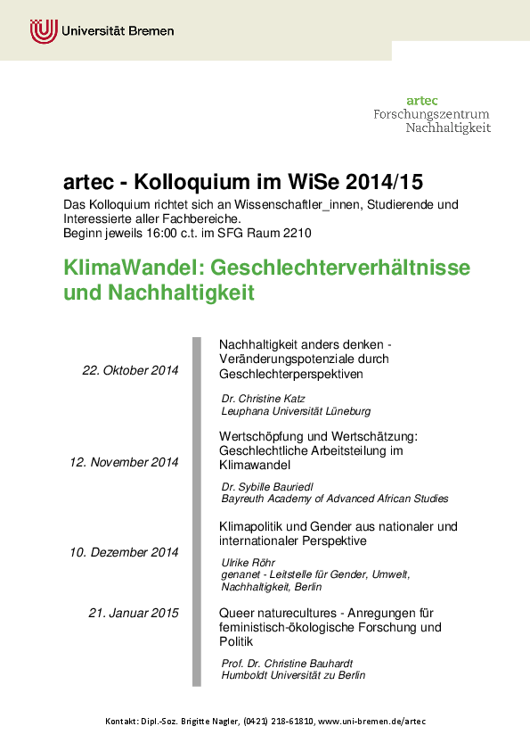 [Translate to English:] Kolloquium WiSe 2014/15