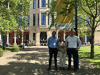 Prof. Barrett, Prof. Oborn, and Prof. Wessel in Cambridge