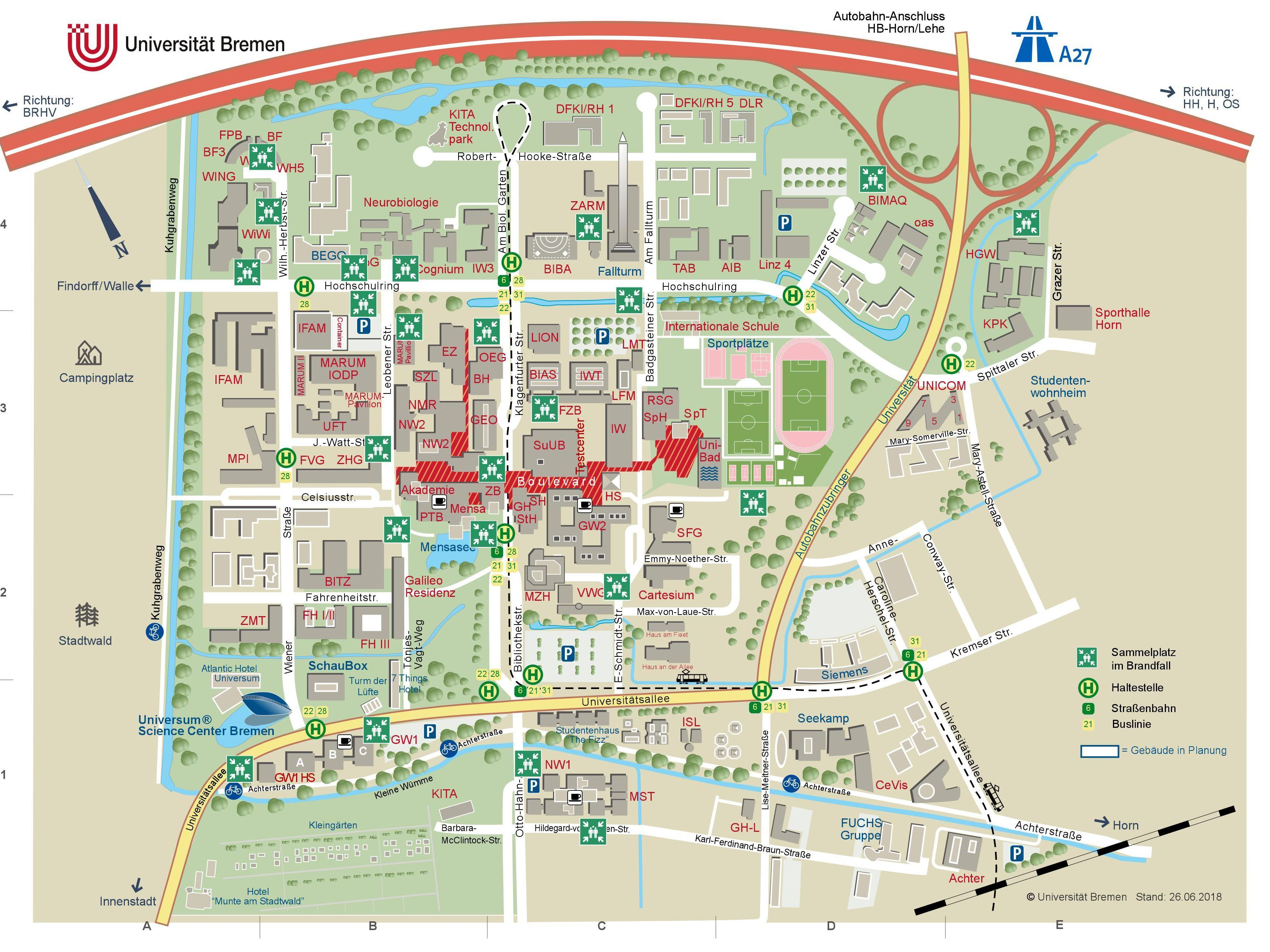 A map of the campus with all the gathering places in case of emergency