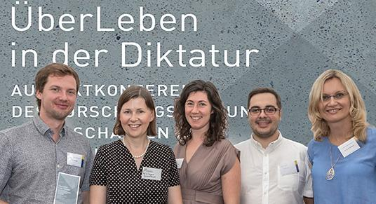 "Picture of team Mod-Block-DDR on conference ""Surviving during dictatorship"". From left to right: Dr. Falk Flade, Prof. Dr. Dagmara Jajeśniak-Quast, Jarina Kühn, Konrad Walerski, Dr. Anna Steinkamp"