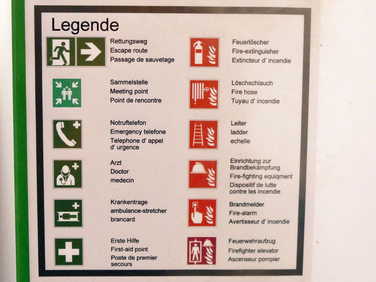 A list of all symbols for emergency, work and health