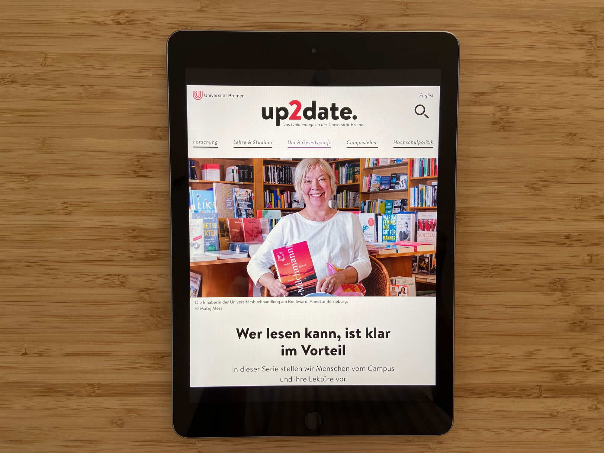 Online Magazin up2date. on tablet